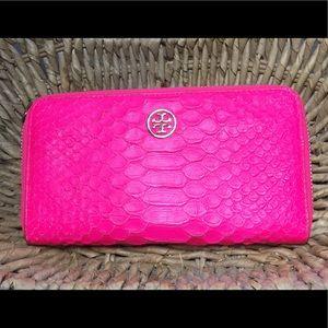 Tory Burch Python Neon Pink Snake Print Wallet